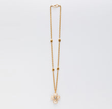 Load image into Gallery viewer, Chanel | Gold Tone Pearl Cross Pendant Cable Chain Necklace