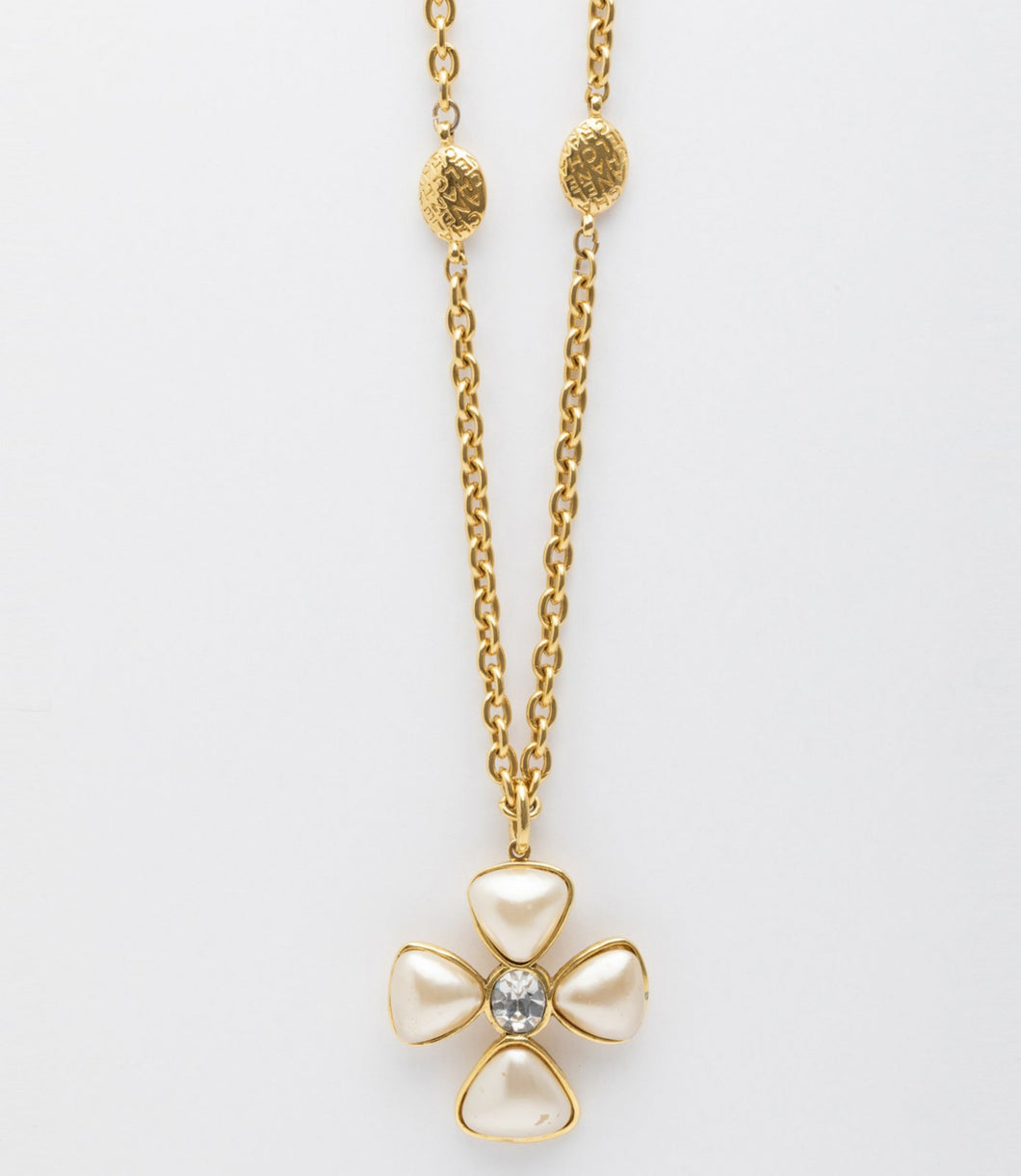 Chanel | Gold Tone Pearl Cross Pendant Cable Chain Necklace