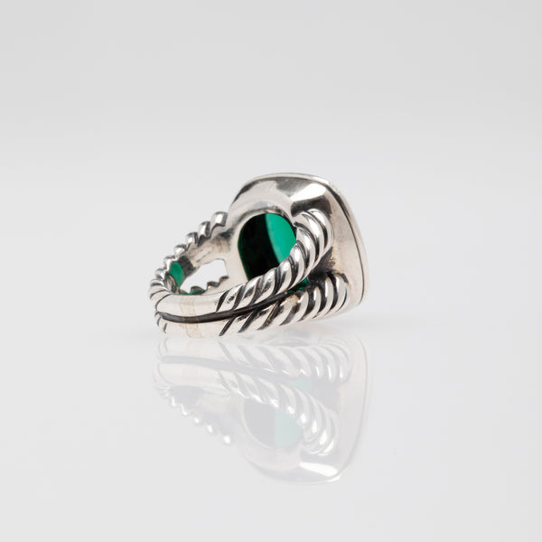 David Yurman |  Albion Faceted Green Onyx Stone Sterling Silver Ring | Size 6