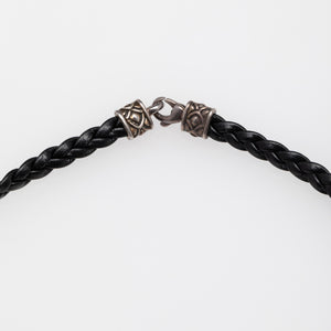 John Hardy |  Black Woven Leather Men's Necklace