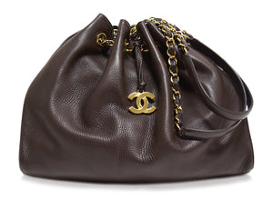 Chanel | Brown Leather Lambskin Drawstring bag
