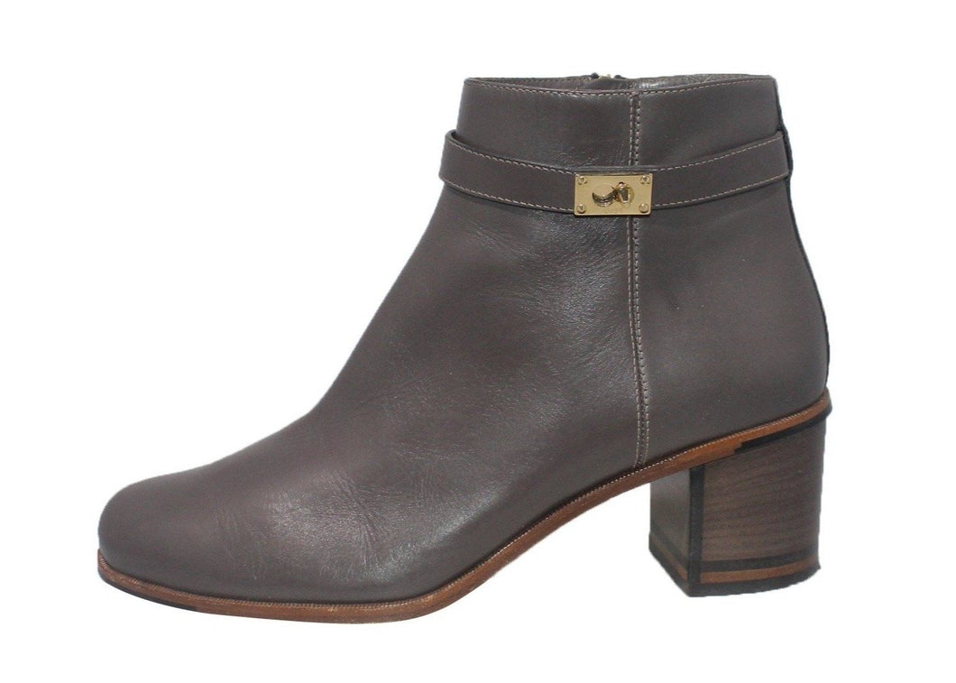 Fendi|  Goldmine Grey Leather Bootie | Size 8.5 / 38.5 EU
