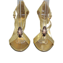 Load image into Gallery viewer, Gucci | Tom Ford for Gucci Gold Python Jewel Sandal Sz 7B