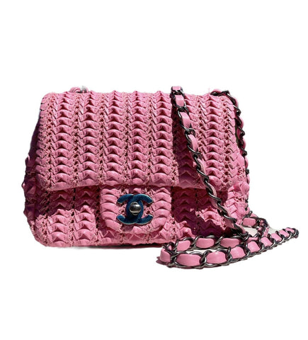 Pink Woven Lambskin Square Flap Mini Bag
