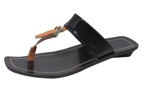 Black & Brown Thong Sandals | Size 37.5 EU / 7.5 US
