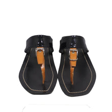 Load image into Gallery viewer, Prada | Black & Brown thong sandals Sz 37.5