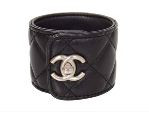 Chanel | Black Quilted Lambskin Rihanna CC Turn Lock Cuff