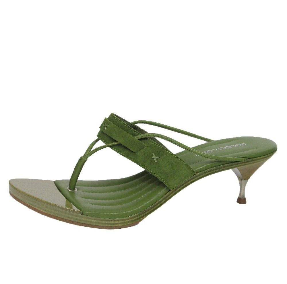 Sergio Rossi | Leather Thong Wooden Sole Heeled Mule Sz 37.5/7.5