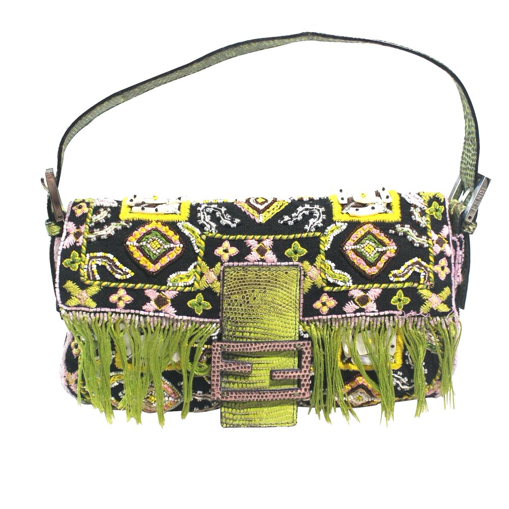 Fendi | Vintage Baguette Shoulder bag Green/Black Beaded
