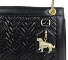 Load image into Gallery viewer, Kieselstein-Cord | Woven Leather Handbag Golden Retriever Charm