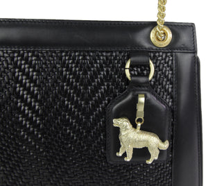 Kieselstein-Cord | Woven Leather Handbag Golden Retriever Charm