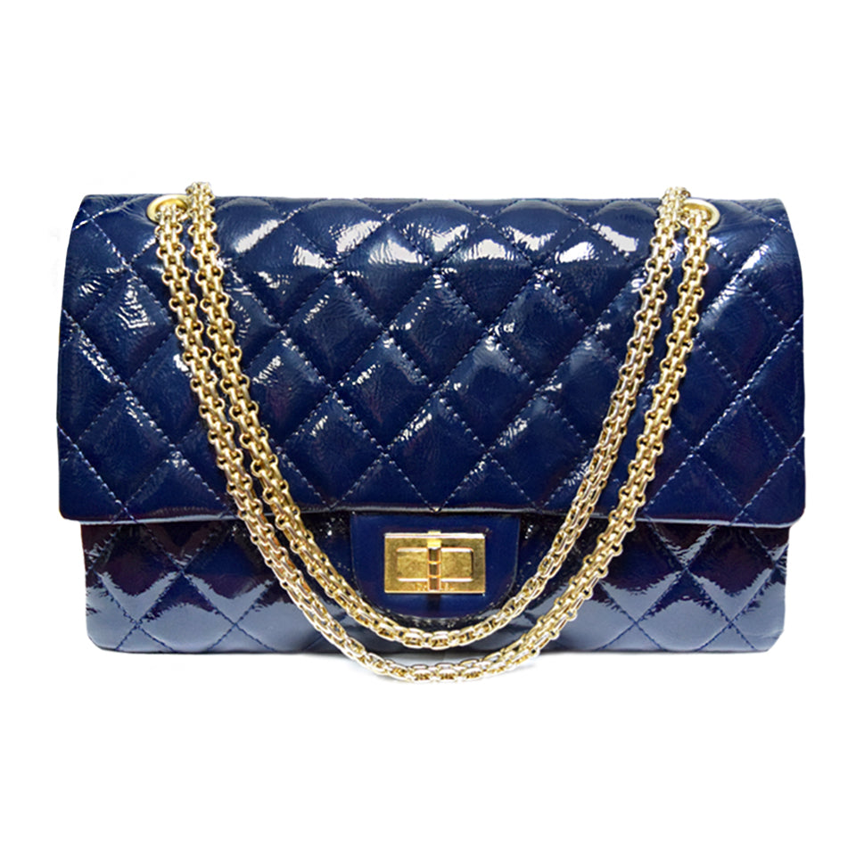 Chanel | Reissued 2.55 Navy Patent Shoulder Bag