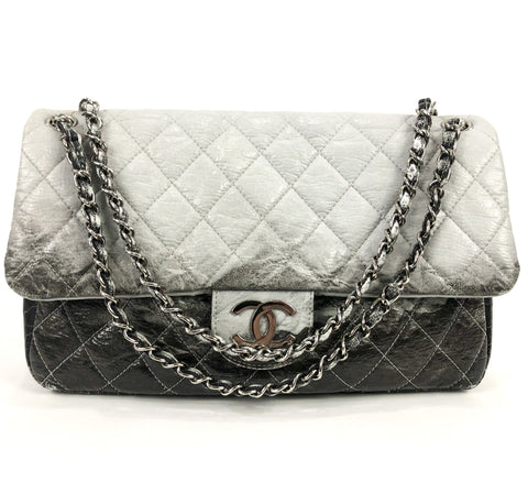 Melrose Degrade Vinyl Quilted Jumbo Flap Handbag