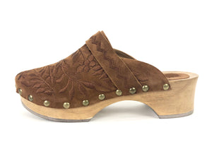 Nerimah Saddle Suede Embroidered Clogs | Size 6.5 - 7 US  /  39 EU