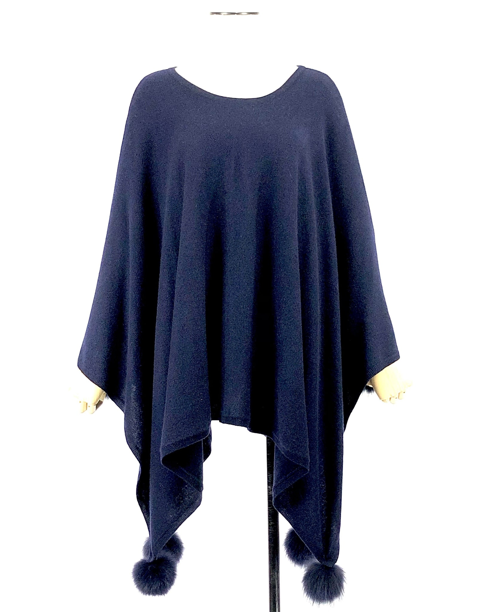 In Cashmere | Royal Blue Cashmere Poncho Size L/XL