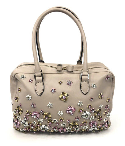 Blush Leather Swarovski Embellished Handbag Satchel