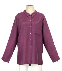 Washed Silk Habutai Button Down in Currant | Size L