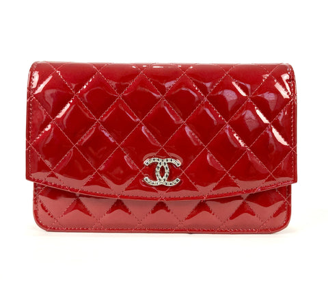Red Quilted Patent Brilliant Wallet On Chain
