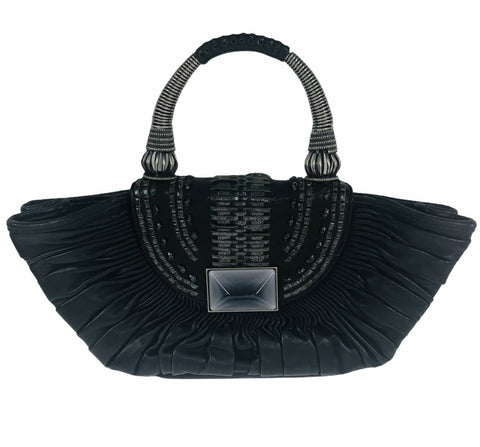Black Lambskin Plissé Basket Top Handle Mini Bag