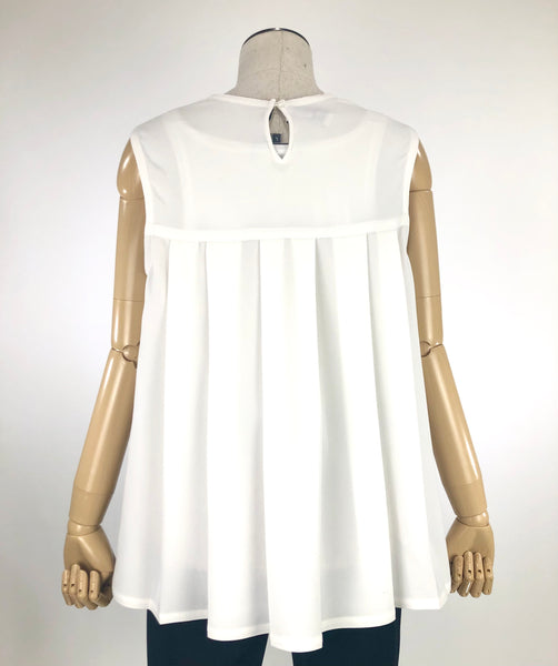 White Pleated Sleeveless Blouse with High Low Hem | Size 8