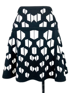 "Black and White ""Flote"" Skater Skirt 