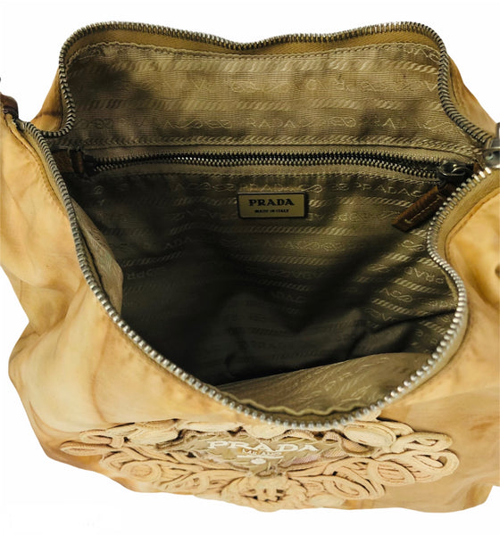 Tessuto Tan Tie-Dye Embroidered Passamaneria Hobo Bag