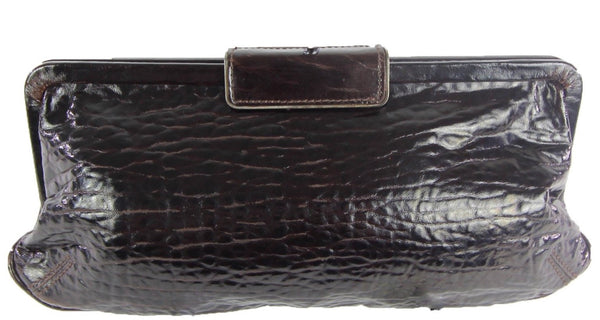 Espresso Brown Croc Embossed Leather Clutch