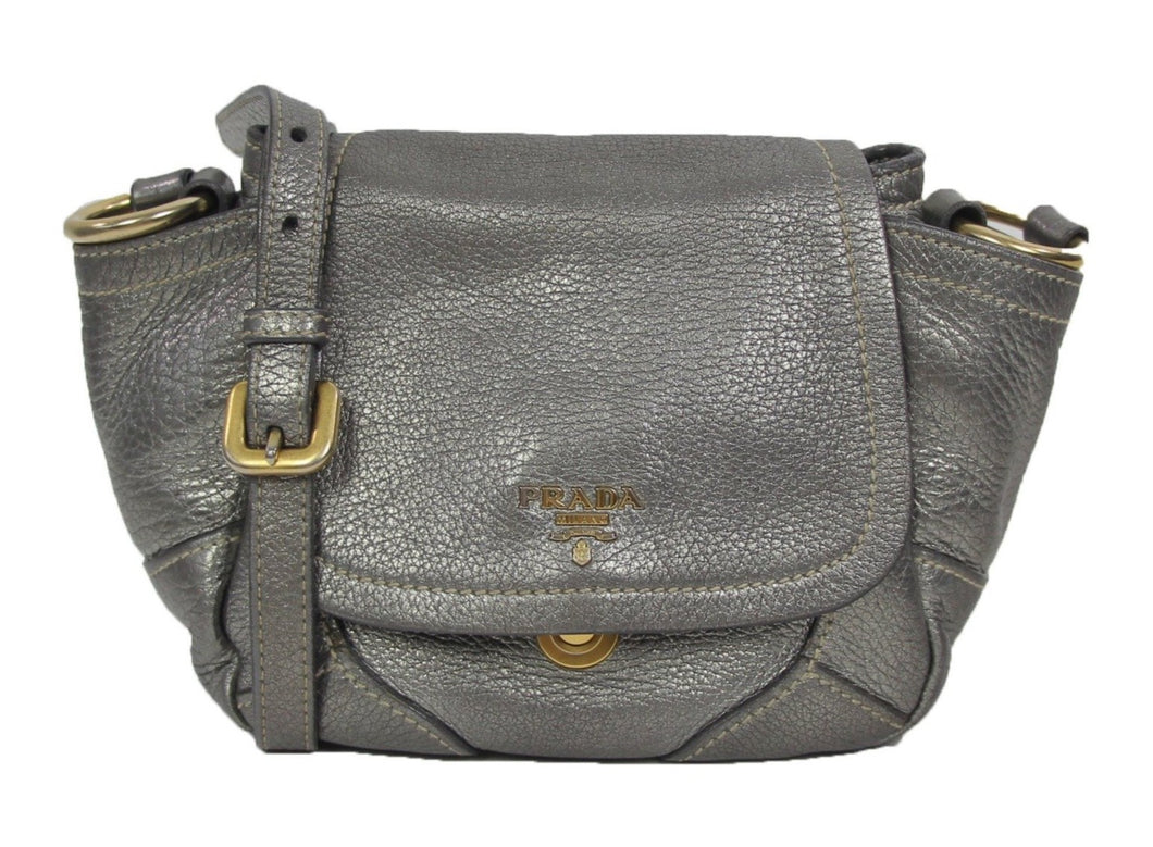 Prada | Vitello Daino Crossbody bag in Acciaio
