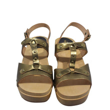 Load image into Gallery viewer, Swedish Hasbeens | Gold Platform Sandal Sz 39