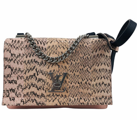 Lockme BB II Pink and Navy Python Shoulder Bag