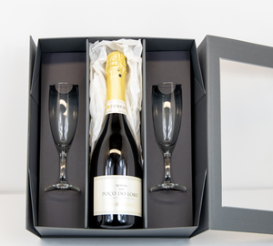 Portuguese Baga grape Sparkling Wine gift set with glasses