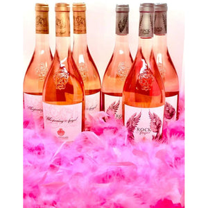 Angel Feathers Wine Party Pack - Case of 6 rosé wines including award winning Whispering Angel + Rock Angel 750ml + 6 feather boas