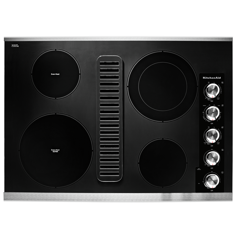 "30"" Electric Downdraft Cooktop with 4 Elements KCED600GSS"