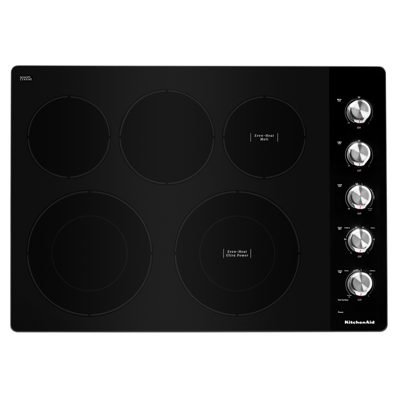 "30"" Electric Cooktop with 5 Elements and Knob Controls KCES550HSS"
