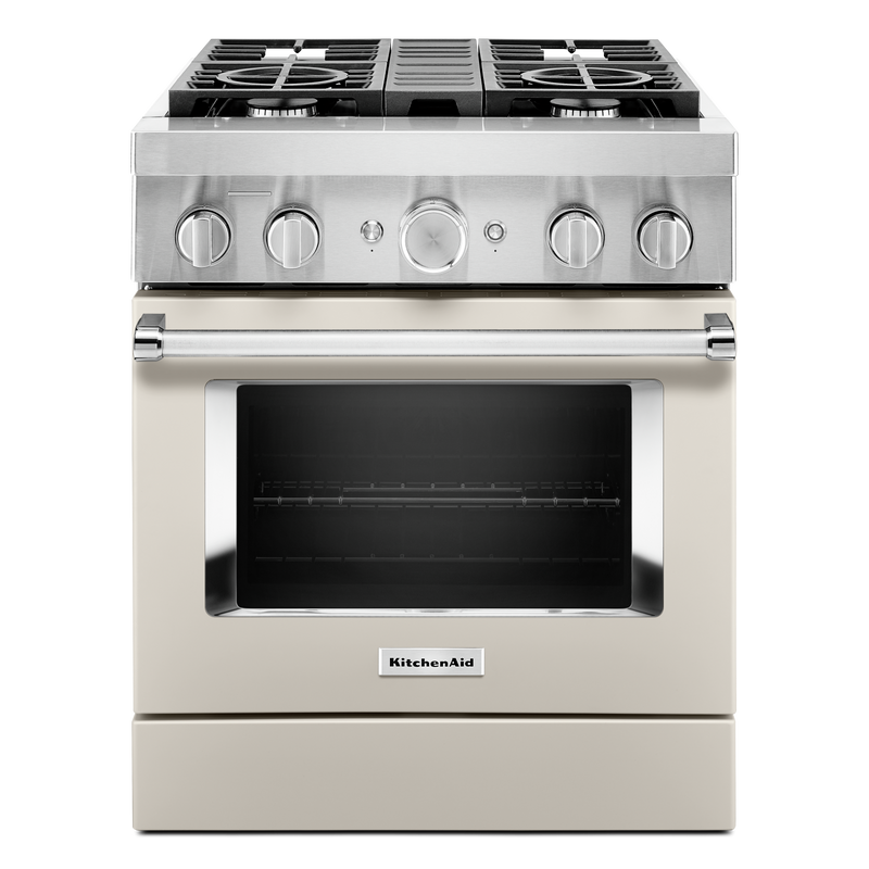 KitchenAid® 30'' Smart Commercial-Style Dual Fuel Range with 4 Burners KFDC500JBK