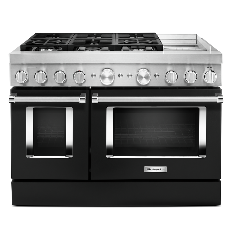 KitchenAid® 48'' Smart Commercial-Style Dual Fuel Range with Griddle KFDC558JMB