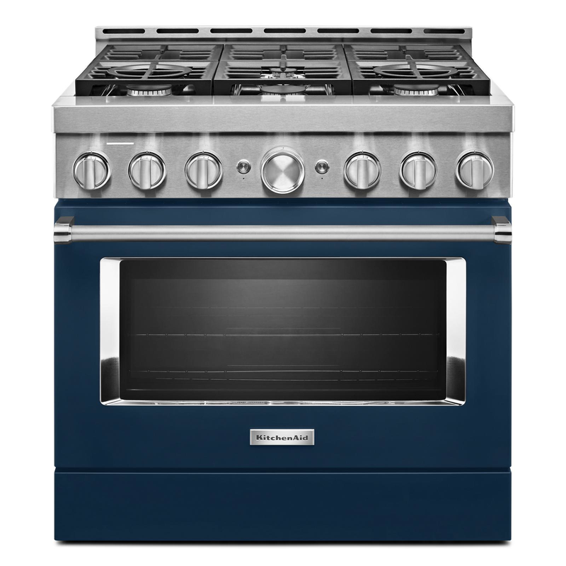 KitchenAid® 36'' Smart Commercial-Style Gas Range with 6 Burners KFGC506JIB
