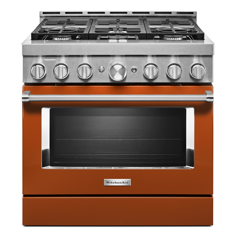 KitchenAid® 36'' Smart Commercial-Style Gas Range with 6 Burners KFGC506JBK