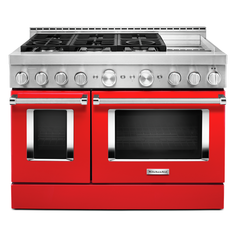 KitchenAid® 48'' Smart Commercial-Style Gas Range with Griddle KFGC558JSS