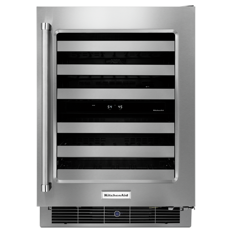 "24"" Stainless Steel Wine Cellar with Metal-Front Racks KUWR304ESS"