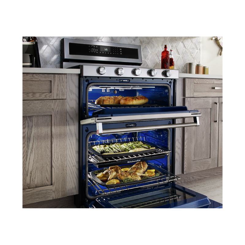 30-Inch 5 Burner Dual Fuel Double Oven Convection Range KFDD500ESS