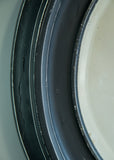 Ebonised Round Bevelled Mirror - SOLD