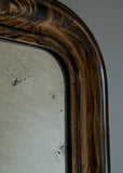 Closeup of French Faux Grained Antique Mirror | Rough Old Glass