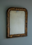 French Faux Grained Antique Mirror | Rough Old Glass