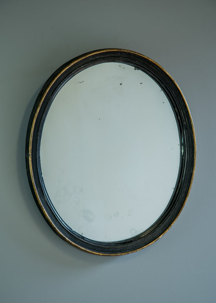 Ebonised English Oval Mirror - SOLD