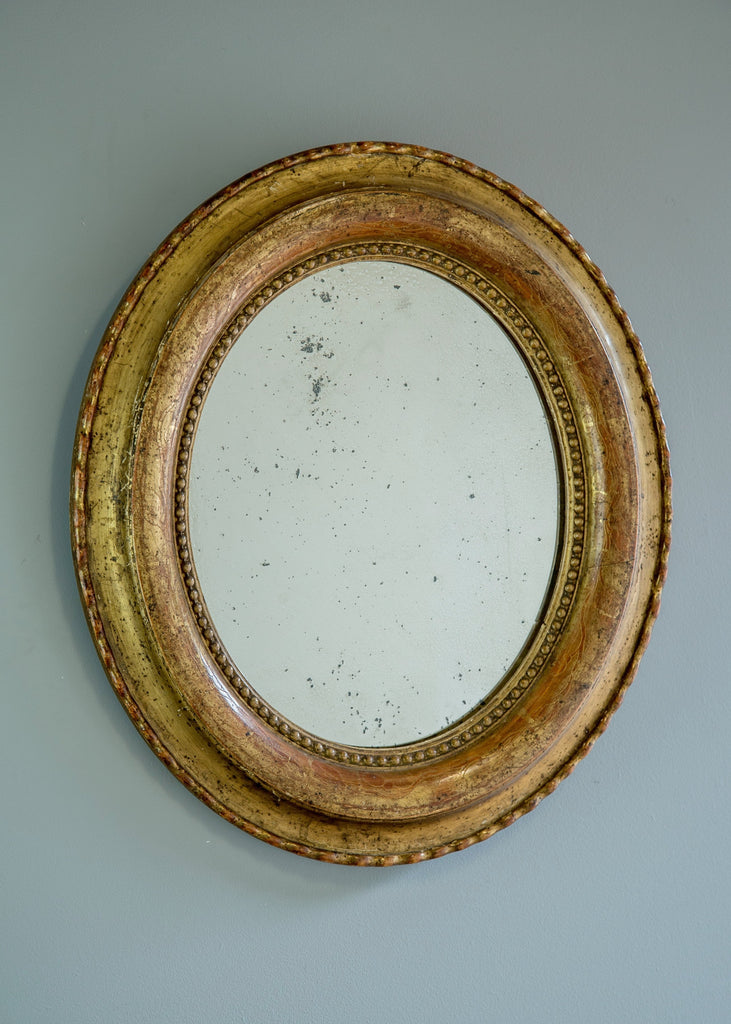 French Gilt Oval Mirror | Rough Old Glass
