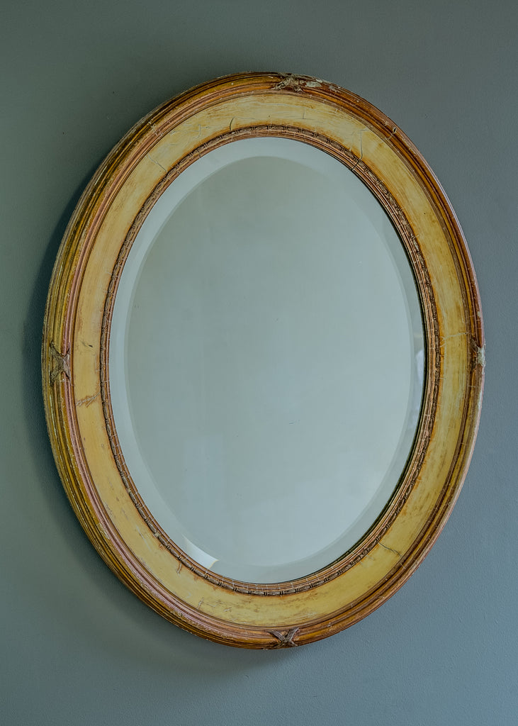 English Oval Mirror with Bevelled Glass - SOLD