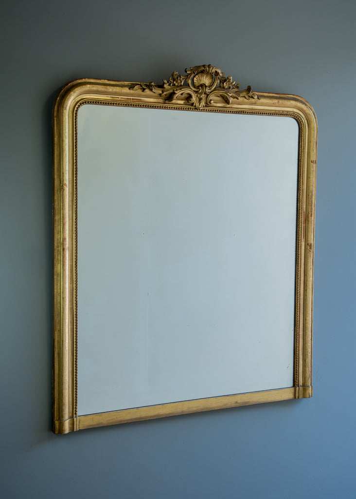 Engraved French Crested Antique Mirror | Rough Old Glass