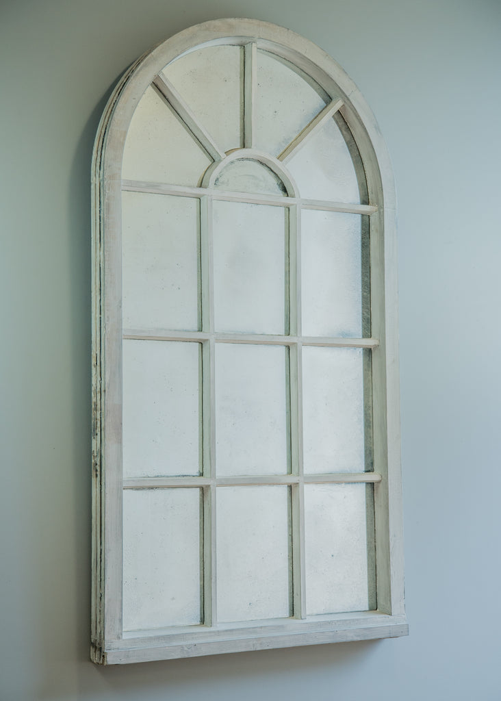 Painted arched topped window mirror Window pane mirror