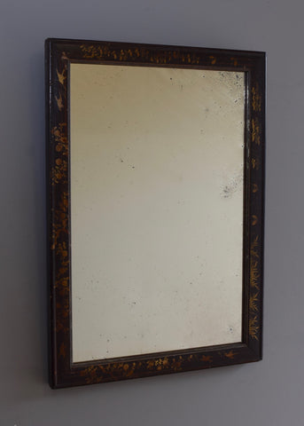 Chinese Black & Gilt Lacquered Mirror